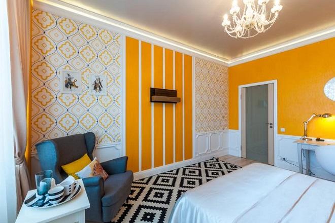 дизайн спальни с фотообоями комбинированные